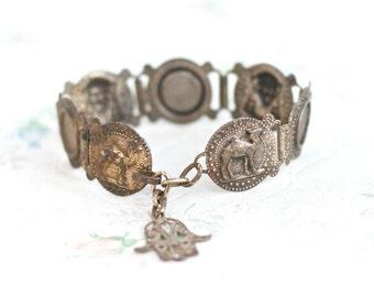 Egyptian Links Bracelet - Camel and Pharaoh Links - Oxidized Vintage Bracelet with Filigree Hamsa Hand
