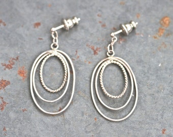 Oval Dangle Earrings - Silver Tone