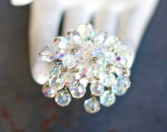 Iridescent Faceted Glass Crystals Brooch - Vintage Dangle Lapel Pin