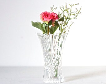 Art Deco Glass Vase - clear Pressed Glass Small Vase - Vintage Home Decor
