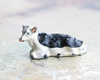 Lead Little Tiny Cow - Antique Farm Animal Toy Figurine - Iron Cast - Brittains Made in England