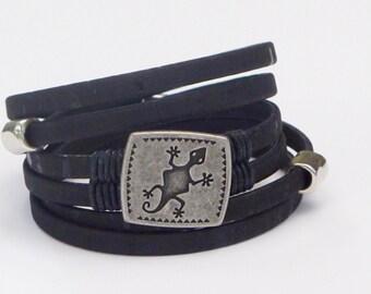 Portuguese Cork Wrap Bracelet, silver etched gecko, Wrap Bracelet, Whirly Wrap, choose baby blue cork or black cork, silver secure magnet