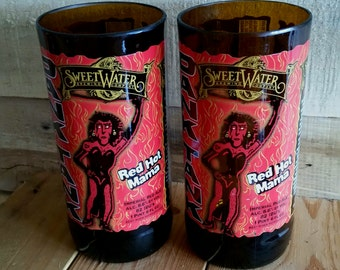 Pair of 2 Sweetwater Brewing Red Hot Mama Beer Bottle Glasses