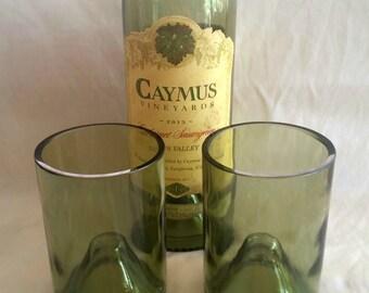 Set of 2 Sage Green Stemless Wine Bottle Glasses