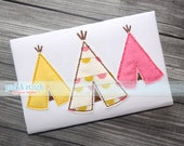 Three Teepees Bean Stitch Appliqué Design Machine Embroidery INSTANT DOWNLOAD