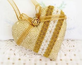 """Heart Ornament 5"""" Gold Fabric Heart Pillow Door Hanger Heart Christmas Heart Ornament Handmade CharlotteStyle Decorative Folk Art"""