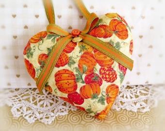 "Halloween Heart Door Hanger Heart 5"" Fabric Heart Pumpkins Print Fall Fabric, Cottage Style Handmade CharlotteStyle Decorative Folk Art"