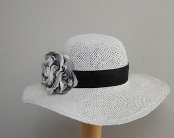 Off White Womens Straw Hat / Wide Brim Hat / Summer Hat for Women / Panama Hat / Sun Protection Hat / Stylish Hat ooak