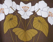 Huge pair of mid century oversized floral screen printed curtains / drapes
