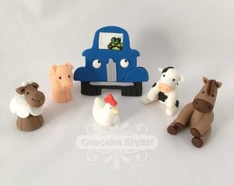 Little Blue Truck Cake Topper Set, Fondant, by Cupcake Stylist on Etsy