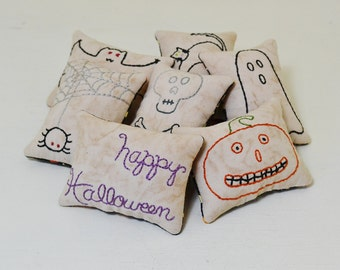 Happy Halloween Decorative Pillows - Jack o Lantern Bowl Fillers - Primitive Tucks - Spider Web - Skull Crossbones - Black Cat - Bat - Ghost