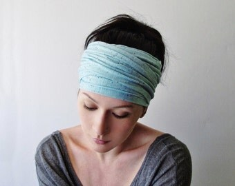 PALE TURQUOISE Blue Yoga Headband - Bohemian Hair Wrap - Turquoise Head Scarf - Jersey Head Wrap - Yoga Headband - Ecoshag Hair Accessories
