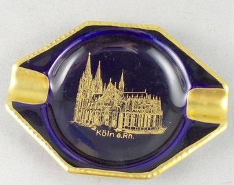 Small Vintage Ashtray Köln a.Rh. Echt Cobalt Germany Bavaria Waldershof Gold