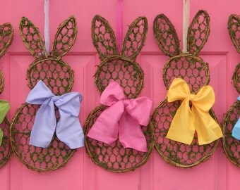 Mini Bunny Wreath - Spring Wreath  - Easter Wreath -