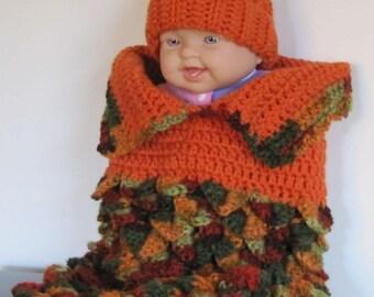 baby cocoon with pumpkin hat MARKED DOWN! - newborn size
