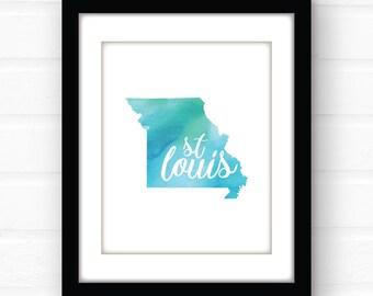 st louis missouri print saint louis art st louis print watercolor city print - Home Decor St Louis Mo