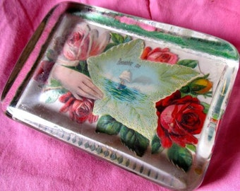 Paperweight Lucite Roses Love romantic gift retro desk accessory red pink hand sailing ship inside Remember Me memorial remembrance 1950's