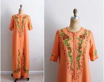 Vintage 70 Orange Embroidered Maxi Dress / Boho Dress/ Hippie Maxi Dress /One size