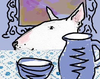 Dufy the Dog at Breakfast Bull Terrier Card