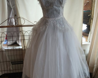 Vintage wedding, prom dress with  crinoline sweetheart neckline