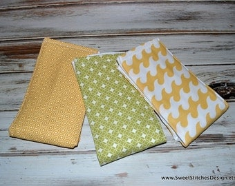 Baby Gender Neutral Baby Burp Cloths - Modern Baby Items Modern Burp Cloths Hexagon Circles Waves Green and Yellow
