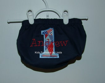 Personalized Birthday Navy Diaper Cover