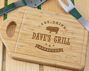 Personalized Eat, Drink, Barbecue Cutting Board, for the grill, BBQ, dad, him, barbecue, cutting board, wood, engraved, gift -gfyL1036330