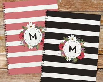 Personalized Floral Initial Notebook Set of 2 [back to school, notebook, school supplies, writing, paper, stripped, floral] -gfy11049921-S2