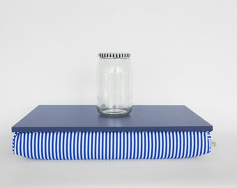 Stable table, Laptop stand or wooden Breakfast in Bed serving Tray - Light slate blue with blue and white striped Pillow