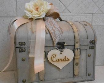 Wedding Card Trunk / Wedding Card  / Large Wedding Card Holder / Rustic Wedding Card Box / Burlap And Lace Wedding Decor / Chic Trunk