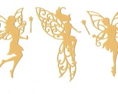 3 gold fairy die cut embellishments