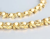 Trifari Pearl Necklace Bracelet set, Vintage 1960s Choker 16.5 inch Link, Brushed Gold