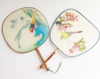 2 Vintage Silk Bamboo Hand Painted Bird Paddle Fans Peoples Republic