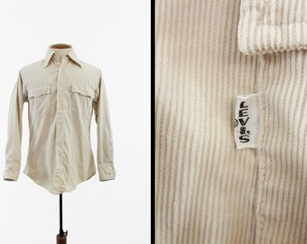 Vintage 70s Levi's Big E Shirt Corduroy Long Sleeve Cream Button Up - Medium