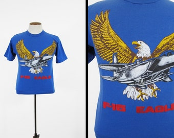 Vintage 80s Fighter Jet T-shirt F-15 Eagle Military Crewneck Blue Tee - Small / Medium