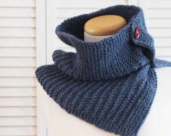 Knitting Pattern Cowl, Stripes, Denim, Blue