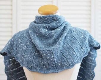 Knitting Pattern Shawl - The Tweedy Shawl in Blue Wool Silk Alpaca Yarn