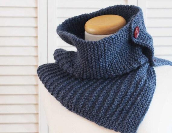 Cowl Knitting Pattern 4 Ply : Knitting Pattern Cowl Stripes Denim Blue
