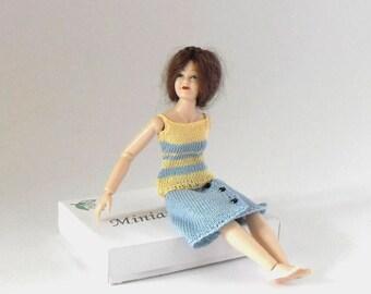 Dollhouse Miniature Vest Top, Skirt 1:12 Scale Outfit for Heidi Ott Lady Doll, Light Blue & Yellow Fine Crochet Cotton by Miniaturejoy