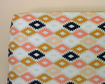 Arizona Aztec Fitted Crib Sheet or Changing Pad Cover, Peach Gold Mint Navy Neutral Nursery Bedding, Agave Field, Kilim Native Tribal