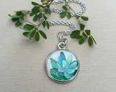 Green Succulent Silver Necklace
