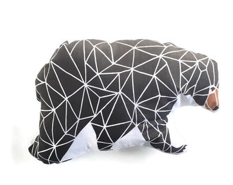Pillow Plushie Geometric Bear- Decorative Pillow- Bear Plushie- Throw Pillow - Nursery Decor - Bear Pillow - Black Bear Plushie - Plush Bear