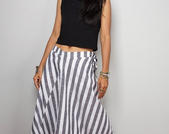 Striped Pants / Wide leg pants / Striped Cotton Harem Pants : Nature Touch Collection III