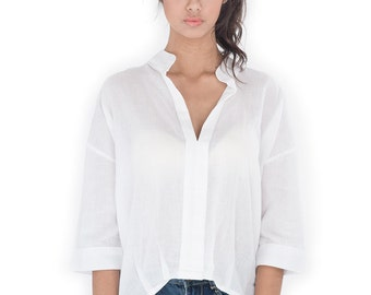 White Blouse with Mandarin Colar / Women's shirt - Gauze Cotton Blouse : Simply Touch Collection No.1
