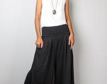 Striped Pants - Wide Leg Pants  - Comfy Pants  -  Long Wide Leg Pants - Grey Striped Pants : Urban Chic Collection no.22