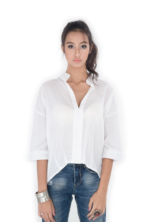 Women'S White Gauze Blouse 118