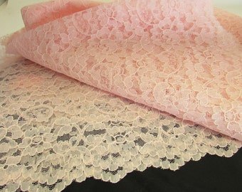 Vintage Pink Nylon Floral Lace Fabric, Doll Clothes Fabric,Vintage Lace Material, Vintage Textiles