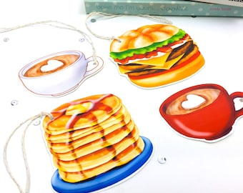Large Children's Party Food Gift Tags. Syrup Pancake stack Tags. Food Novelty Gift Tags. Fun gift tags. Junk Food Tags. Burger Gift Tags