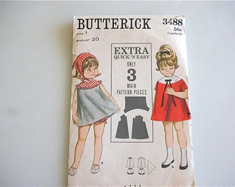 Butterick 3488 Toddler Dress with Bloomers HANDKERCHIEF Girls Size 1 Sewing Pattern with Instructions from The Back Part of the Basement