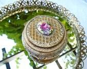Vintage Ferrington Trinket Box / Pink Rose Cameo Box / Jewelry Box / Footed / Vanity Box / Ornate Antique Goldtone / Japan / Lidded Box